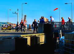 Scotland West Coast Largs passengers getting off the paddle steamer Waverley at sunset 1 July 2018 by Anne MacKay (Anne MacKay images of interest & wonder) Tags: scotland west coast largs pier passengers paddle steamer waverley sunset 1 july 2018 picture by anne mackay