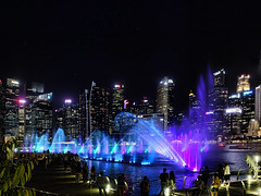 Lightshow Singapore Harbour (SFB579 Namaste) Tags: singapore lights harbour water fountains bright dark city tropical
