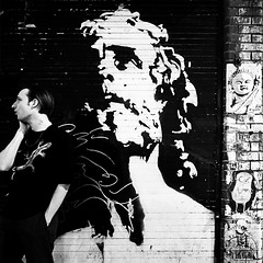 looking for... peace or whatever... (nika.vero) Tags: graffiti art streetart london person people bw monochrome blackandwhite contrast city citysnap