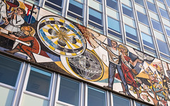 Haus Des Lehrers (justahero) Tags: hausdeslehrers building berlin mural gdr art mosaics mosaik fenster windows fujifilm alexanderplatz