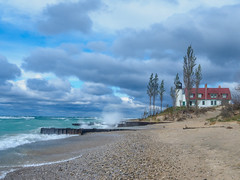 Windy Afternoon at Point Betsie (mjhedge) Tags: fall getolympus lighthouse michigan pointbetsie waves lakemichigan turquoise blue clouds sand beach puremichigan autumn oly olympus em1mkiiomdem1markii omdem1mkii omd omdem1ii 12100mm 12100mmf4 12100 12100mmf4pro mzuiko12100mmf4pro