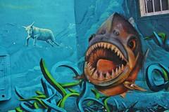 Caligr + Djalouz + Pesca_8503 rue de la Butte aux Cailles Paris 13 (meuh1246) Tags: streetart paris paris13 caligr djalouz pesca ruedelabutteauxcailles animaux requin poisson mouton