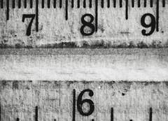 Why was 6 afraid of 7? (Sarah Rausch) Tags: macromondays measurement sony ruler mono blackandwhite