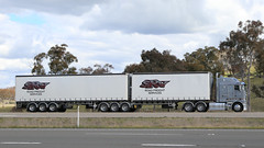 Grey & Green KENWORTH (2/4) (Jungle Jack Movements (ferroequinologist)) Tags: kenworth green gray grey yass hume highway lachlan valley way above board srt freight services teermans sunrice nsw new south wales australia hp horsepower big rig haul haulage cabover trucker drive transport carry delivery bulk lorry hgv wagon road nose semi trailer deliver cargo interstate articulated vehicle load freighter ship move roll motor engine power teamster truck tractor prime mover diesel injected driver cab cabin loud rumble beast wheel exhaust double b grunt srv