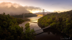 Bridges at Dawn (Simmie | Reagor - Simmulated.com) Tags: 2018 anthonysnose architecture bridge connecticutphotographer d750 fog footbridge fortmontgomery hudsonriver hudsonvalley landscape landscapephotographer mist mountain nature naturephotographer newyork nikon outdoors popolopencreek river september stream summer sunrise tree usa archbridge digital flowingwater noperson northamerica railwaybridge reflection riverbank sky suspensionbridge tianjineye water unitedstates us