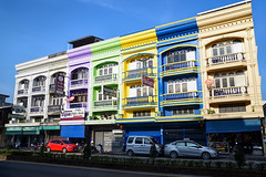 Colorful buildings in Nakhon Si Thammarat Town (andersfredriksson) Tags: building architecture town nakhon thailand sky