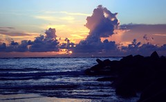 Rise and Shine (PelicanPete) Tags: artisticsunrisephotography sunrise florida summer northernflorida 7618 unitedstates usa saintaugustineflorida villanobeach 2018 beach sea sand water atlanticocean waves ocean jetty sky cloudscape fun july2018 landscape riseandshine boulders quartasunset450