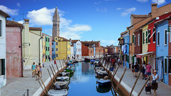 Burano Colour (Sworldguy) Tags: a73 camera sonya73 belltower leaning burano italy colourful houses canal water boats reflections residential tourism travelphotography venice italia europe island veneto architecture rowhouse lagoon steet