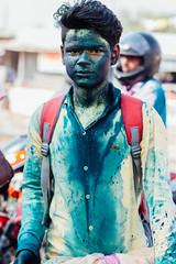 Boy in Green Gulal, Holi Uttar Pradesh India (AdamCohn) Tags: 046kmtollpurhajrainuttarpradeshindia abeer adamcohn firozabad india kmtoin llpurhajra uttarpradesh geo:lat=27136655 geo:lon=78414882 geotagged gulal holi streetphotographer streetphotography wwwadamcohncom अबीर गुलाल