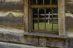 picture in picture († David Gunter) Tags: reflection log cabin wood wooden window pane