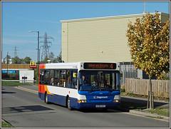 35184, Technology Drive (Jason 87030) Tags: stagecoach midlands kx56kgv 35184 fresh smart livery red white blue orange admiralsestate technologydrive warwickshire dart slf paint pointer dennis wheels bus october 2018