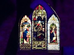 Swan Hill.  Night lights on the Swan Hill Pioneer Settlement church with its beautiful Gothic stained glass window. (denisbin) Tags: swanhill laser night swanhillpioneersettlement heartbeatofthemurray institute display stainedglass window church churchwindow horseandcart mainstreet
