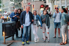 Exaspirated Teen - Barcelona, Spain (TravelsWithDan) Tags: exaspirated teenager youngwoman parents street sidewalk candid people outdoors city urban barcelona spain canong9x