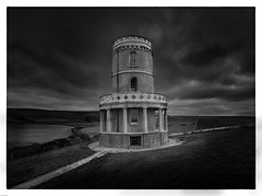 Clavell tower (paullangton) Tags: dorset mono monochrome blackandwhite clouds tower coast kimmeridge canon building contrast landscape trees green fields countryside nature bw sky history