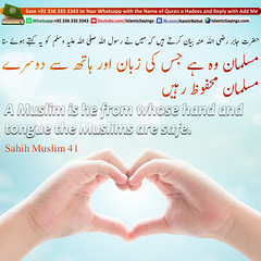 A-Muslim-is-he-from-whose-hand-and-tongue-the-Muslims-are-safe (aamirnehal) Tags: quran hadees hadith seerat prophet jesus moses book aamir nehal love peace quotes allah muhammad islam zakat hajj flower gift sin virtue punish punishment teaching brotherhood parents respect equality knowledge verse day judgement muslim majah dawud iman deen about son daughter brother sister hadithabout quranabout islamabout riba toheed namaz roza islamic sayings dua supplications invoke tooba forgive forgiveness mother father pray prayer tableegh jihad recite scholar bukhari tirmadhi