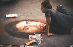 A stone lays on the ground (.KiLTRo.) Tags: kiltro it italia italy florence firenze street city paint painting chalk urban art