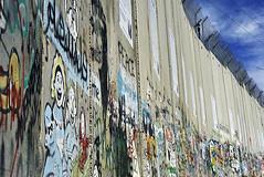 Israeli-built West Bank Wall surrounding Bethlehem with mural art, Bethlehem, West Bank, Israel (anthonyasael) Tags: anthonyasael asael westbank bethlechem betlehem bethlehem palestine israel middleeast asia mural art muralart colorful painting graffiti fresco drawing street streetart banksy artist politicsandgovernment buildstructure exterior buildingexterior wall separationwall concrete separation happy smile horizontal nopeople israelpalestine