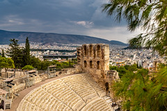 Theater in Acropolis (Wolfhowl) Tags: ancient athens building historic old medeival mountains city cityscape acropolis trees summer ellinska attraction ruins travel hellenes greek theater columns greece 2018 europe temple landscape