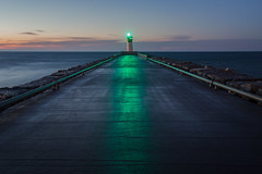 green light (Marc McDermott) Tags: lakeontario ontario canada lighthouse becon pier wet rain morning sunrise clouds longexposure
