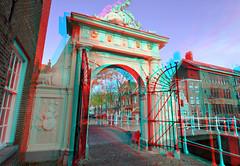 Doelenpoort Leiden 3D (wim hoppenbrouwers) Tags: doelenpoort leiden 3d anaglyph stereo redcyan