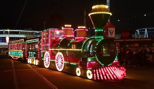 Western train, illuminated tram, Pleasure Beach, Blackpool.