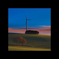 evening (geraldkoenigsohn) Tags: germany eifel fujixt1 pinksky fog sunset country fields windgenerator colour landscape