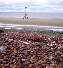 Brick beach pebbles (White Pass1) Tags: crosbybeach pebbles brickbeachpebbles shoreline rivermersey merseyside marker shippingmarker sand merseyestuary