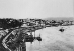 Suburb of South Brisbane viewed from River Terrace, Brisbane, ca. 1895 (State Library of Queensland, Australia) Tags: queensland statelibraryofqueensland suburbs suburbia houses warves paddlesteamer barge drydock southbrisbane