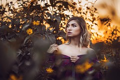 (evdokimov.prod) Tags: pretty woman flowers evening sun nature girl portraits portrait sunset