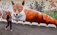 Foxy Lady (Alex L'aventurier,) Tags: helsinki finlande finland renard fox art murale wall mur graffiti street rue femme fille woman girl candid cellphone