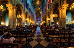 Notre Dame cathedral (abtabt) Tags: france paris church cathedral catholiccathedral architecture parisbanksoftheseine worldheritage notredame notredamedeparis handheldhdr d700sigma1224 people light