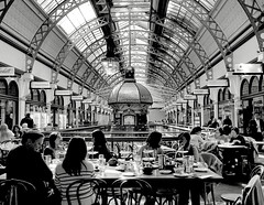 Diners at QVB (missgeok) Tags: dome qvb queenvictoriabuilding sydney georgestreet australia grandbuilding victorian architecture bnw beautiful indoor diners candid cafe restaurant shopping retail shops details blackandwhitephotography angle composition blackandwhite nocolour