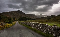 Down the road (Phil-Gregory) Tags: fivesistersofkintail fivesisters nikon d7200 scotland landscapes scenicsnotjustlandscapes road wall cloudscape cloud highlands mountain mountains