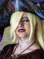 I'm ready for Halloween (sharon'soutlook) Tags: portrait woman girl blondhair hat jewelry lipstick costume cosplay animaticcon