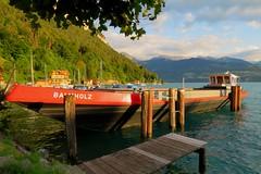 Little harbour of Merligen (arjenvanveldhuisen) Tags: zwitserland switserland boat thunersee lakethun lake see berneroberland meer summer2018 ship eveninglight