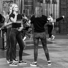dancing at the cathedral (every pixel counts) Tags: 2018 cologne nrw people köln girl street 11 city everypixelcounts blackandwhite square europa cathedral eu domplatte youth back day autumn germany citysights sightseeing bw blackwhite