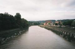 Sunday evening, high tide (knautia) Tags: vauxhallbridge riveravon bristol england uk september 2018 film ishootfilm olympus xa2 olympusxa2 kodak ektar 100iso nxa2roll73 bridge footbridge river avon
