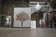 Some of the decorative artwork inside the brewery includes this tree with photographs pinned to each of the branches.