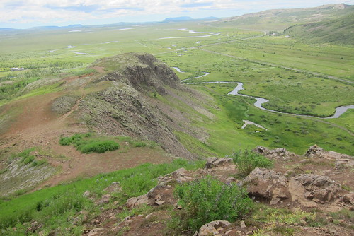 Iceland ~ Landmannalaugar Route ~  Ultramarathon is held on the route each July ~ Hiking from Camp along the ridge - Great vista of the Valley Below