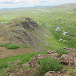Iceland ~ Landmannalaugar Route ~  Ultramarathon is held on the route each July ~ Hiking from Camp along the ridge - Great vista of the Valley Below thumbnail