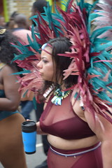 DSC_8413 Notting Hill Caribbean Carnival London Exotic Colourful Maroon Costume With Maroon Turquoise and Ping Feather Headdress Girls Dancing Showgirl Performers Aug 27 2018 Stunning Ladies (photographer695) Tags: notting hill caribbean carnival london exotic colourful costume girls dancing showgirl performers aug 27 2018 stunning ladies maroon with turquoise ping feather headdress