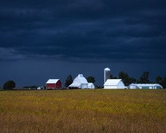 Country Storm (Justin Loyd Photography) Tags: buildings landscape contrast country evening canon field rural blue storm clouds outdoors farm iowa