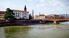 verona spires (khrawlings) Tags: verona italy river bridge adige spire tower