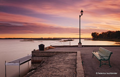 Brideloup (/ shadows and light) Tags: lileperrot sunset sundown pier colours colors benches peaceful peace zen relaxing longexposure