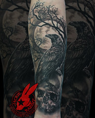 Raven Crow Perched Sitting Skull Full Moon Tree Branch Creepy Spooky Realistic 3D Black and Grey Portrait Tattoo by Jackie Rabbit