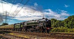Steam Celebrity (Peter Leigh50) Tags: steam locomotive swithland sidings pylon oliver cromwell 70013 class 7 great gcr central railway august summer sunshine railroad rail train trees track line lines wires canon eos 6d