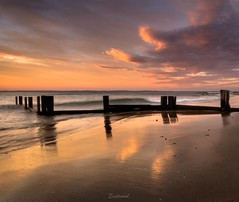 Morning colours and reflections (Gary Eastwood) Tags: beach beacheslandscapes clouds cloudsstormssunsetssunrises groyne balnarring nikon nikond750 ndfilters nisifilters ocean seascape sea reflections reversecolours