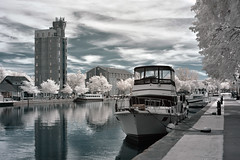 Docked on the Erie Canal (infrared) (dr_marvel) Tags: ir infrared pittsford ny newyork rochester waterway canal erie eriecanal docked pastel