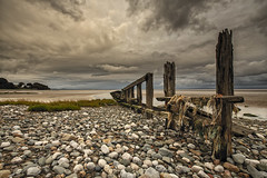 1st October 2018 (Rob Sutherland) Tags: aldingham cumbria furness england english morecambe bay lancashire britain british uk beach groyne wood wooden sea coast evening cloud cloudy old delapidated abandoned ruin ruined stone rock cobble pebble sand sandy dramatic sinister spooky
