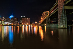 The City Before Sunrise (tquist24) Tags: alleghenyriver hdr nikon nikond5300 pennsylvania pittsburgh bridge city downtown geotagged light lights longexposure night reflection reflections river sky star stars water unitedstates